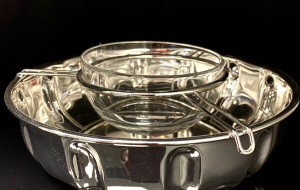 Kaviarschale versilbert mit Kristalleinsatz