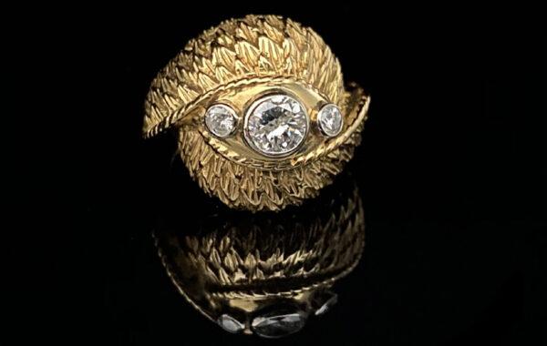 Ring 750er Gelbgold mit 3 Diamanten
